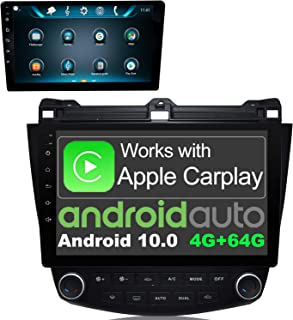 GOKKCL 10.1 Inch Android 10.0 Car Stereo Radio Wireless CarPlay & Wired Android Auto 4GB+64GB AM/FM GPS Navigation Bluetooth WiFi in-Dash Head Unit for Honda Accord 2003-2007 Car Multimedia Player