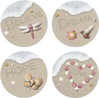 Thirstystone Stoneware Coaster Set, Sand Writing