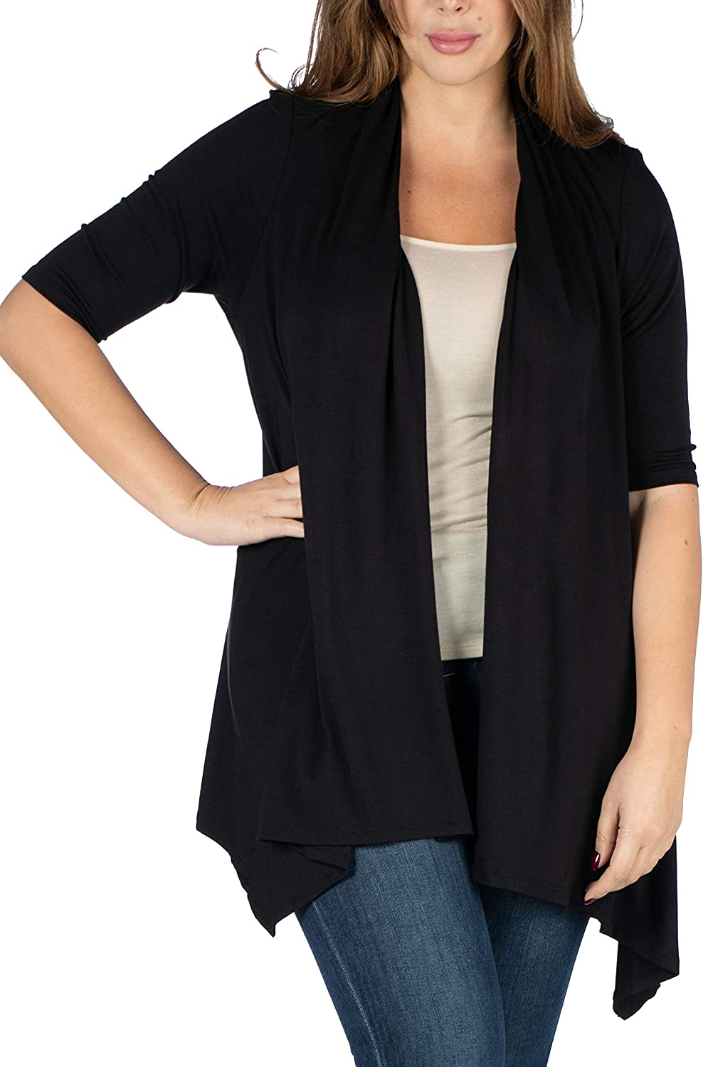 24seven Comfort Apparel Loose Fit Open Front Cardigan with Half Sleeve Made in USA -1X-3X