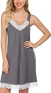 ADOME Women's Nightgown Comfy Sleepshirts Lace Sleepwear Sleeveless Lingerie Cotton Nightwear Chemise Pajama Dress S-XXL