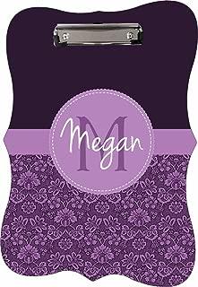 Purple Damask Pattern - Jacks Outlet TM - CUSTOM Benelux Shape 2-Sided Hardboard Clipboard - Customize Yours Now!