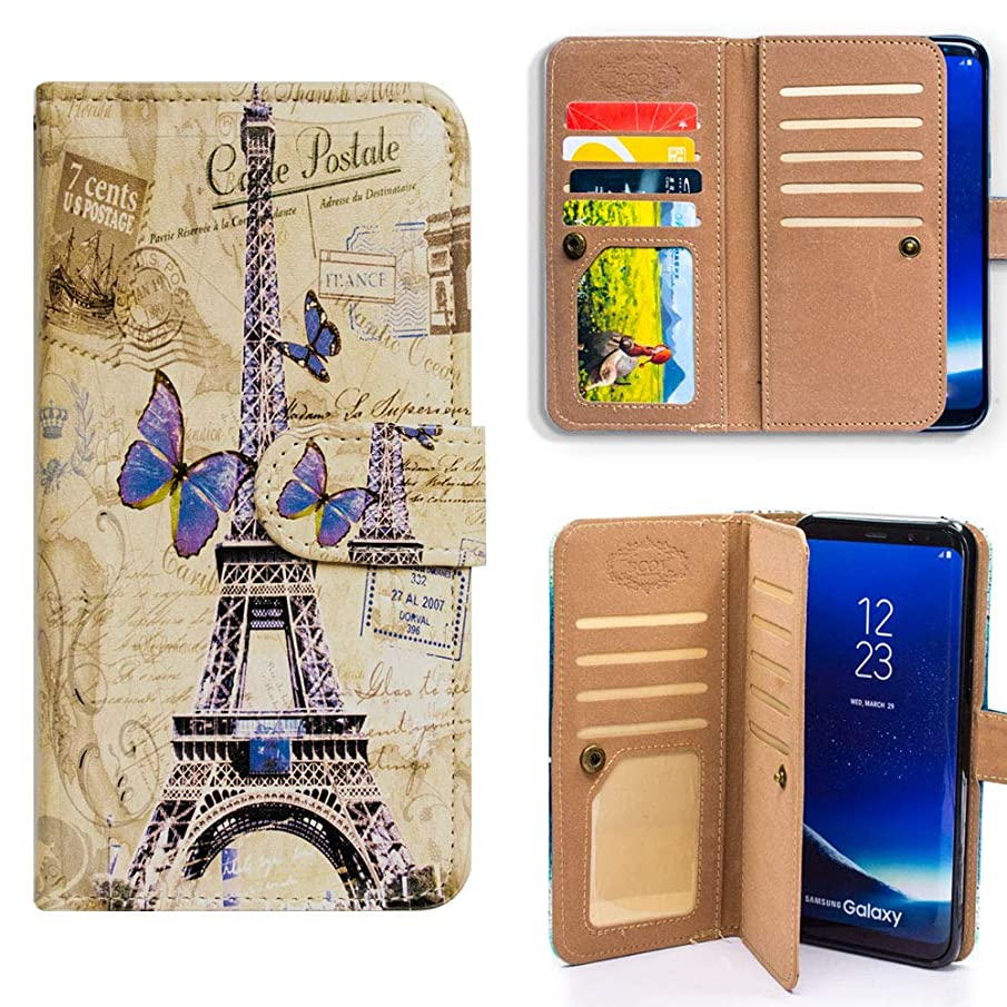 Bfun Packing Galaxy Note 9 Case,Bcov Eiffel Tower Postcard Multifunction Wallet Leather Cover Case for Samsung Galaxy Note 9