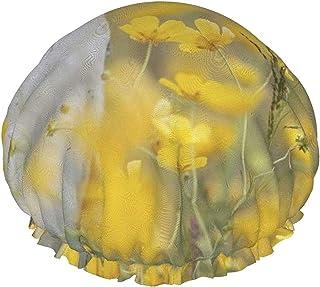 Czapka prysznicowa dla kobiet wodoodporna piękna biała sowa w kwiatach rzepaku dwuwarstwowa czapka do włosów wielokrotnego...