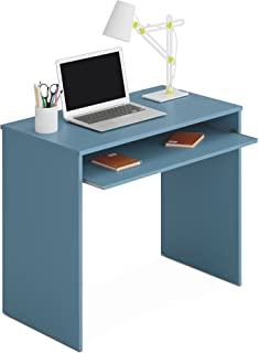 comprar comparacion Habitdesign - Mesa de Ordenador con Bandeja Extraible, Medidas: 90 x 79 x 54 cm de Fondo (Azul)