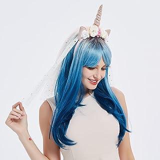 Koswiggle Peluca de unicornio azul con diadema de unicornio con tul y flores, disfraz de Halloween para mujeres y niñas (a...