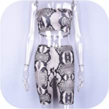 Fashion New Women's Set Short Strapless Casual Women Summer Slim Snakeskin Shorts Sets