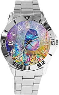 XuSuJuan Custom Image Stainless Steel Analogue Men Or Women Unisex Watch Time Metal Scale Raised On Image Surface. (Chinese Style Fantasy Watercolor Butterfly)