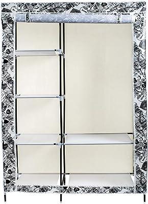 Maison & Cuisine Foldable Wardrobe Printed Door 6 Racks 102X43X169 cm (88105-1) Multicolor