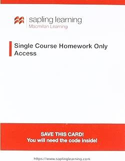 Sapling Single-course General, Organic, and Biochemistry Homework Access Card