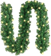 10Ft Christmas Garland with 50 LED Lights - Battery Powered Waterproof String Light with Timer - Pre-lit Outdoor Xmas Garl...