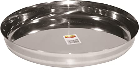 Raj Dinnerware Plate (Thali Sada Steel), Silver, TS0010, 1piece
