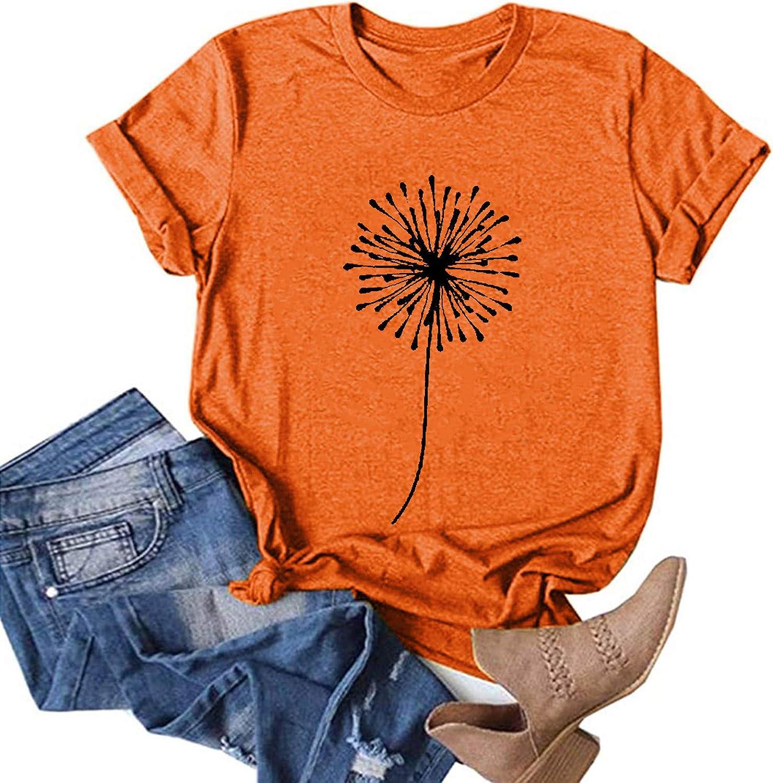 Womens Short Sleeve Tops, naioewe Womens Casual Suflower Printing Summer Short Sleeves O-Neck Loose T-Shirt Blouse Tops