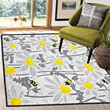 Grey Decor Area Rug,Daisy Flowers with Bees in Spring Time Honey Petals Floret Nature Purity Blooming Easy Clean Stain Resistant Yellow White 67