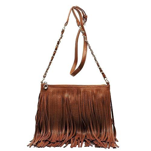 d7c56d033fce Elphis Western Vintage Fringe Tassel Chain Strap Hipster Shoulder Bag Cross  Body Bag(031)