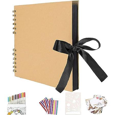 AIOR Album Photo Traditionnel Double Spirale Album Fait Main Bricolage Papier d'artisanat Livre de Mémoire, Livre d'or de Mariage, Anniversaire de Mariage, Cadeau d'anniversaire (Jaune)