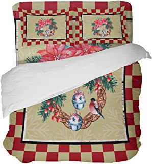 YnimioHOB Juego de Funda nórdica de 3 Piezas con Borde de Cuadros Rojos y pájaros y Corona navideña con 2 Fundas de Almohada Decorativas, Colcha, sábanas