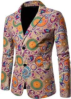FCYOSO Men's Printed Suit Jacket Multicolor Cotton Linen Blazer