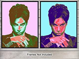 Prince Warhol Pop Art Wall Art Print Set - Unique Home Decor Posters for Bedroom, Living Room - Gift for 80's Eighties Music Fans - (Set of Two) 8x10 Photos Unframed