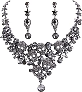 EVER FAITH Women's Crystal Gothic Skulls Stars Statement Necklace Earrings Set