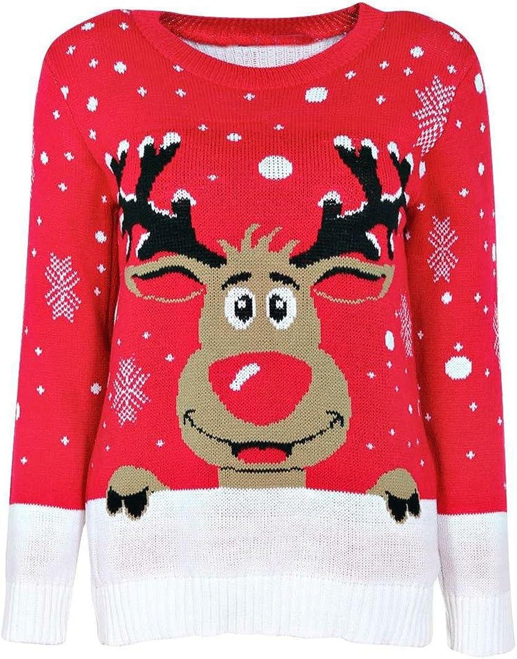 UK S-XL Divadames New Reindeer Snowflake Knitted Unisex Christmas Jumper