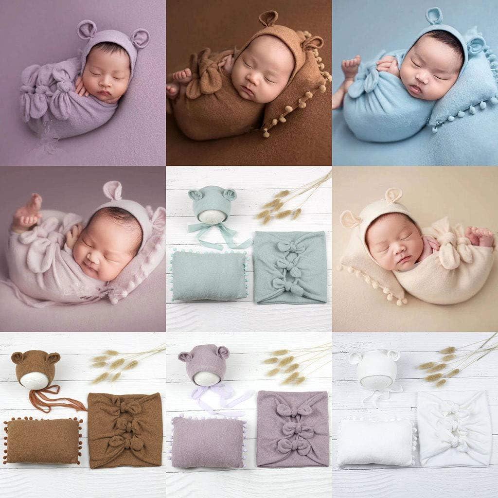 WE-WHLL 3 unids//Set Sombrero de beb/é Almohada Envolver Accesorios de fotograf/ía para reci/én Nacidos Accesorios de sesi/ón de Fotos para beb/és-Kaki