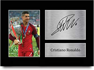 HWC Trading Portugal Gifts Cristiano Ronaldo Gift Signed A4 Printed Autograph Photo Display