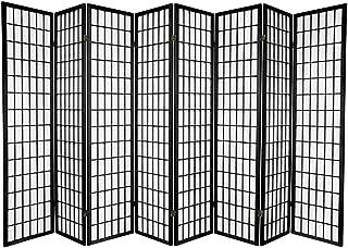 Oriental Furniture 6 ft. Tall Window Pane Shoji Screen - Black - 8 Panels