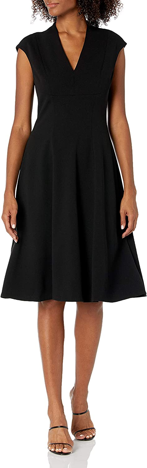 Tommy Hilfiger Women's Classic Belted Fit and Flare Midi Dress