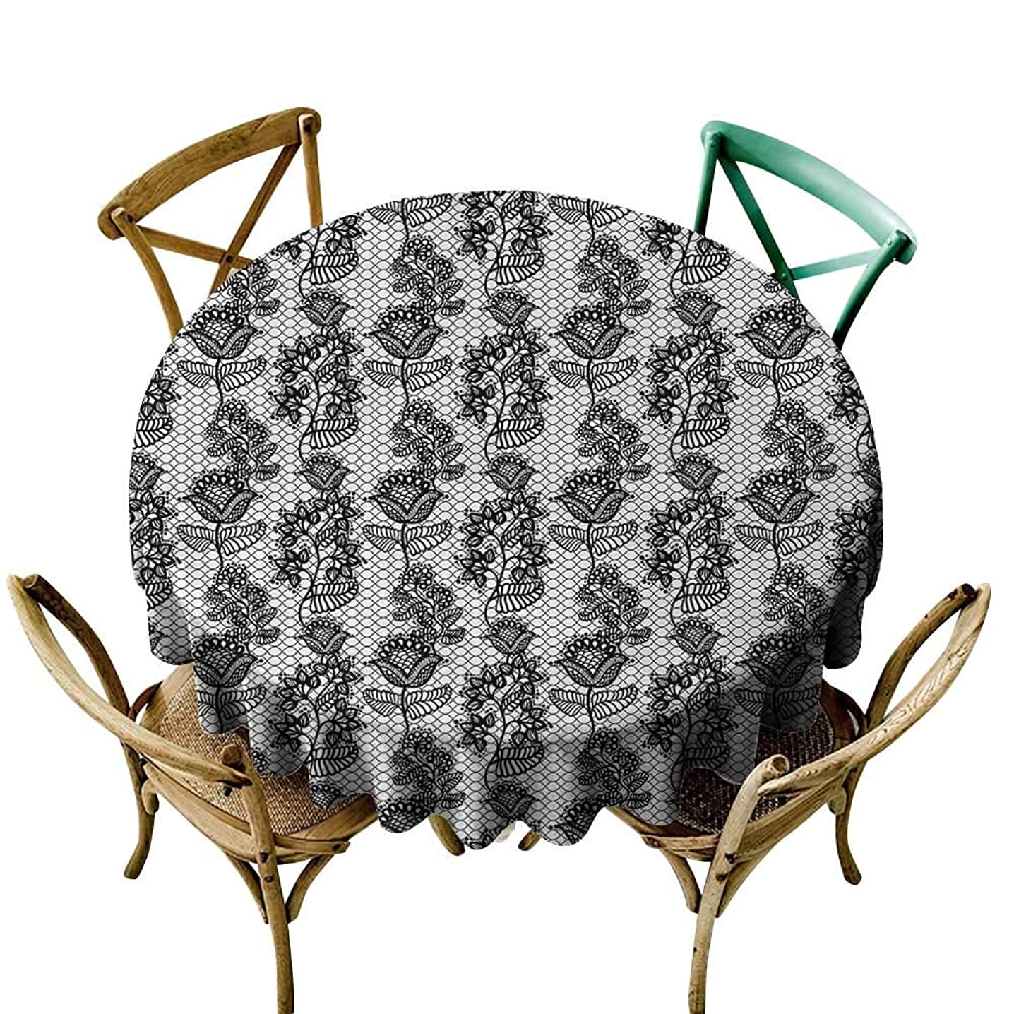 round outdoor tablecloth 60 inch Black and White,Lace Style Victorian Flower Motifs on Wavy Backdrop Western Girls Pattern,Black White Printed Indoor Outdoor Camping Picnic Circle Table Cloth