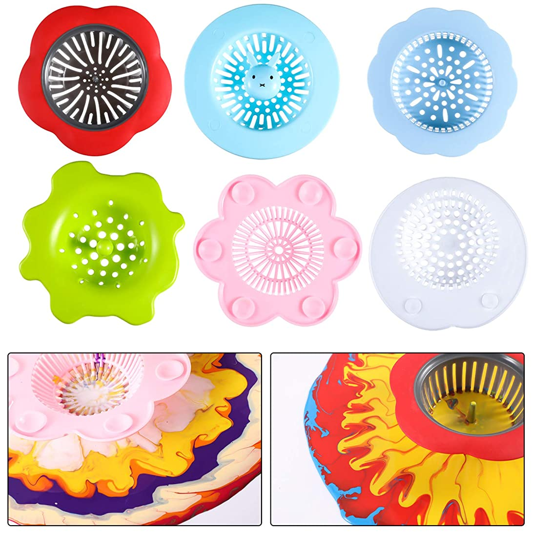 6 Pieces Acrylic Pouring Strainers Plastic Strainers Plastic Silicone Paint Sink Strainer for Paint Pouring Supplies
