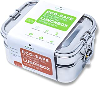 Ecozoi LEAK PROOF Stainless Steel 3-in-1 Eco Lunch Box Bento Boxes | REDESIGNED Silicone Seal + BONUS Lunch Pod | Sustainable Tiffin Eco Friendly Metal Bento Box Food Storage Containers