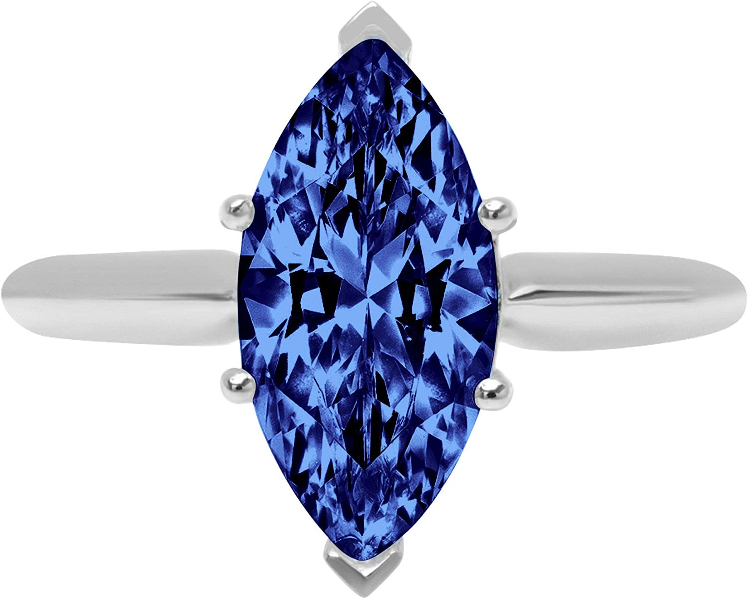 2.45 ct Brilliant Marquise Cut Solitaire Flawless Simulated CZ Blue Tanzanite Ideal VVS1 6-Prong Engagement Wedding Bridal Promise Anniversary Designer Ring Solid 14k White Gold for Women