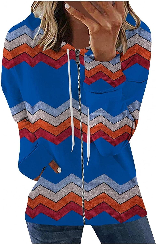 Hotkey Hoodies for Women, Womens Long Sleeve Tops Casual Zip-Up Hoodie Jacket Wave Print Hooded Sweatshirt Coat with Pocket