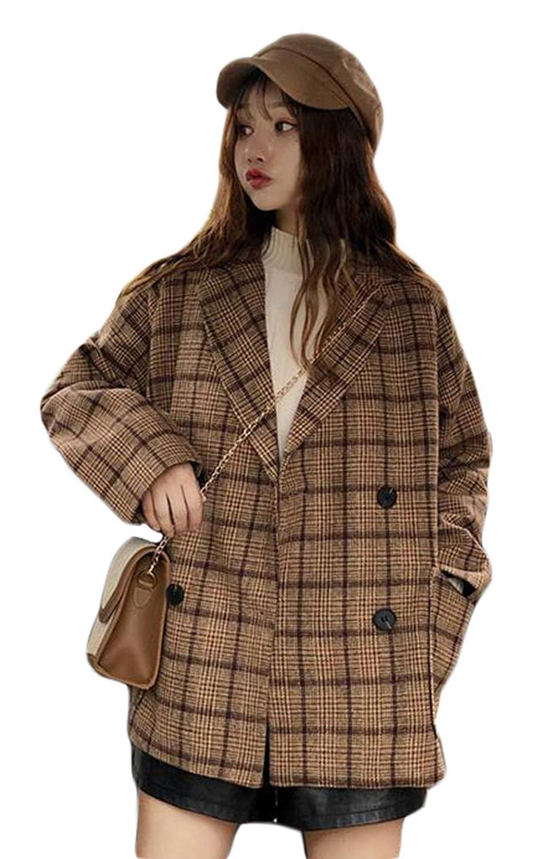 BSCOOLレディース ダッフルコート チェック柄 ゆったり ショートコート 韓国ファッション チェスターコート 通勤 通学 アウター