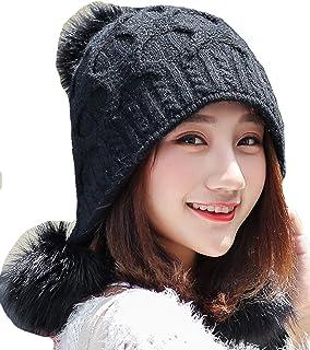 KEIMI(ケイミ)ニット帽 レディース ポンポン 大きいサイズ 耳あて付 手編み かわいい 秋冬 スキー スノボ 防寒 雪山 ケーブル編み おしゃれ 小顔効果