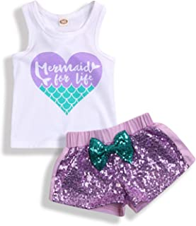 YOUNGER TREE 2Pcs Baby Girls Mermaid Outfits Heart Letter Printed Vest Tops Sequin Shorts Summer Clothes Set