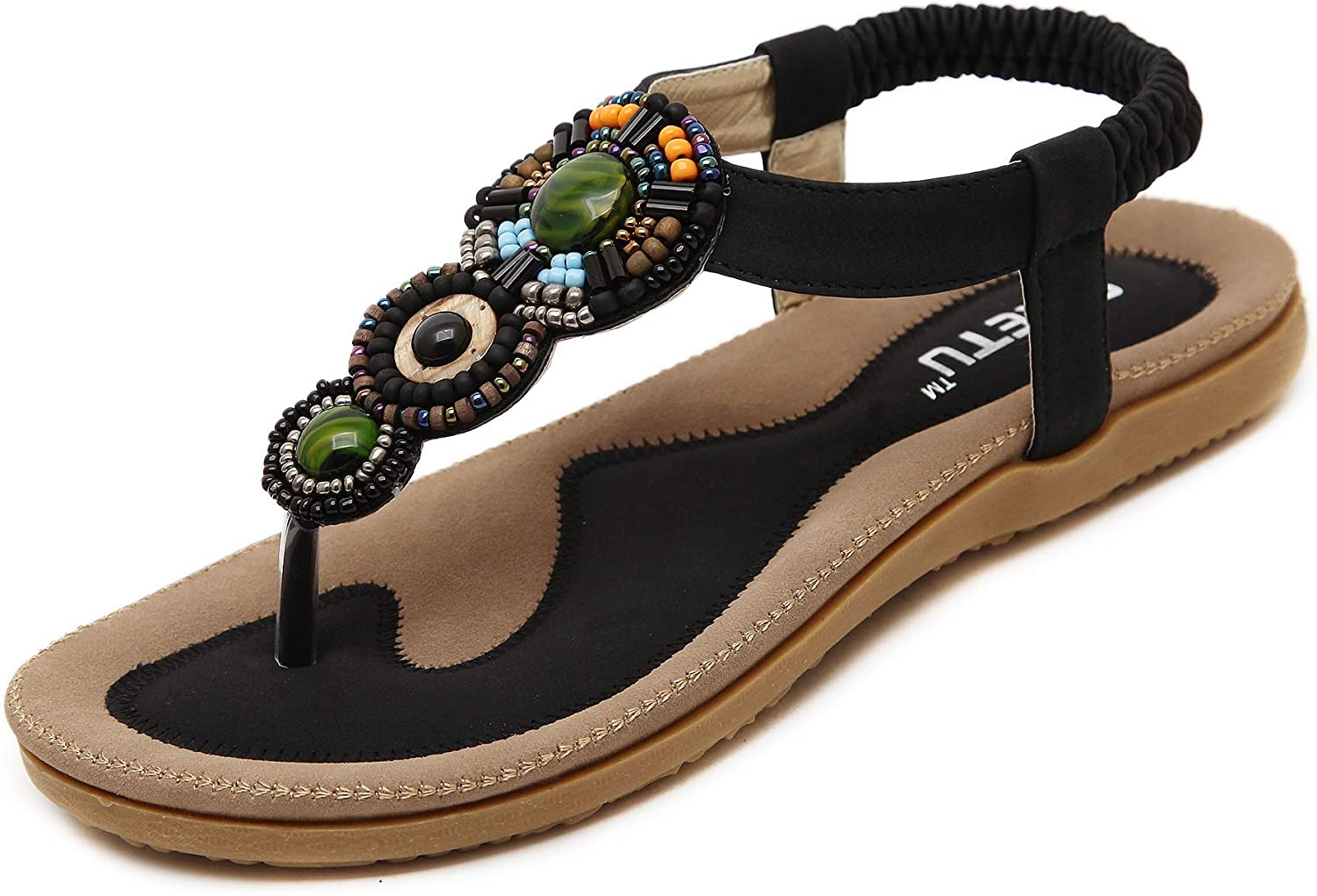Flip-Flops Bohemian Elastic Strappy Thong Ankle Strap Sandals for Women