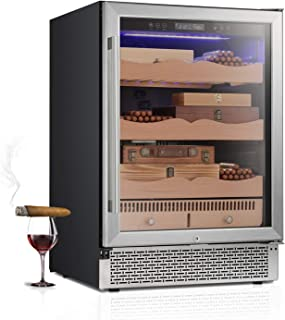 "RMYHOME 24""Touch Control Stainless Cigar Cabinet, Free Standing Electronic Cigar Cooler Humidor, 3-Layer Wooden Shelves, LCD Temperature Display, and Child Lock"