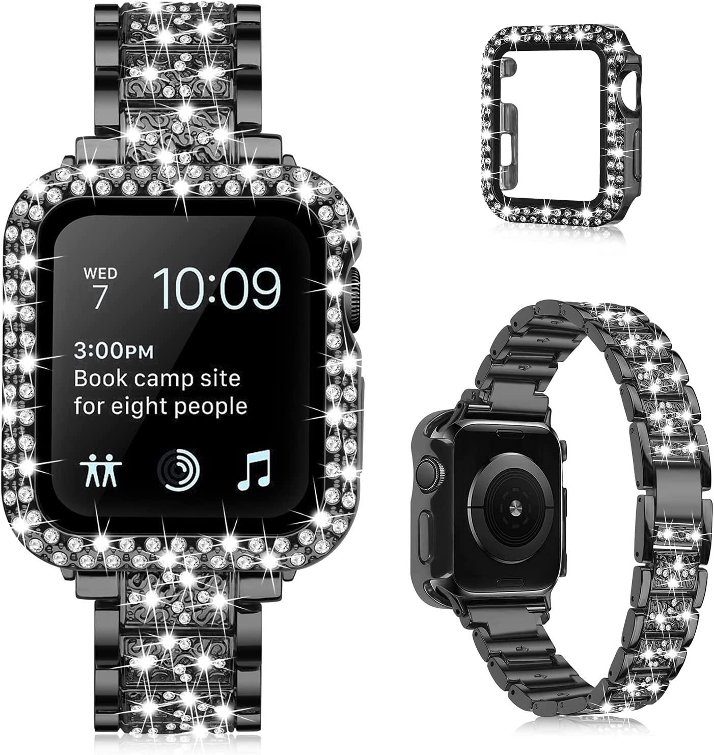 QINGQING Bracelet Compatible with Apple Watch 44mm Series SE Series 6/5/4 with Case for Women Girls, Jewelry Bling Diamond Rhinestone Replacement Metal Strap with Bling Protective Cover for iWatch