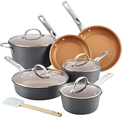 Ayesha Curry Kitchenware 11pc Home Collection Cookware Set (Brown Sugar)
