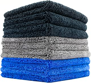 (9-Pack) THE RAG COMPANY 16 in. x 16 in. Professional 70/30 Blend 420 GSM Dual-Pile Plush Microfiber Auto Detailing Towels...