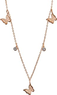 MOONSTONE Fashion Pendant For Women Stainless Steel Dainty Butterfly Crystal Charm Chain