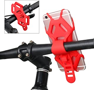 BDEALS Universal Silicone Bike Mount Cell Phone Holder Bicycle Motorcycle Rack Handlebar Cradle Adjustable Phone Holder for Any Smartphone with 4.5-6.0 Inch Screen iPhone X/8 Plus Samsung Galaxy S8
