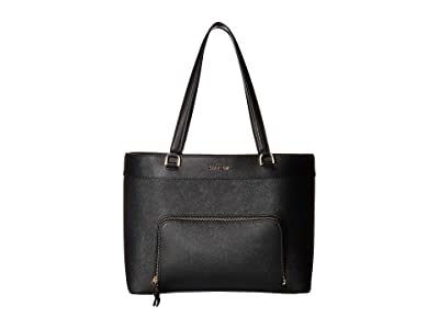 Calvin Klein Louise Saffiano Leather Tote (Black/Gold) Handbags