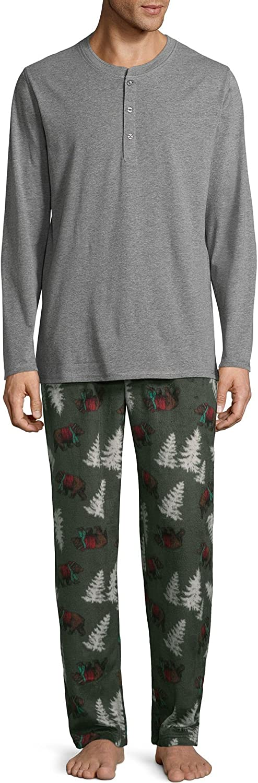 Stafford Men's 2-Piece Sleep Set, Henley Top & Microfleece Pajama Pants Sleep Bottoms