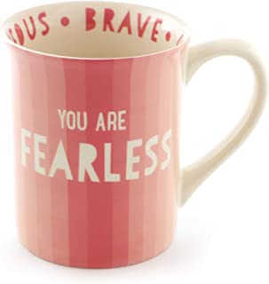 "Enesco 6000076 Our Name Is Mud ""Fearless"" Stoneware Coffee Mug, 16 oz, Pink"