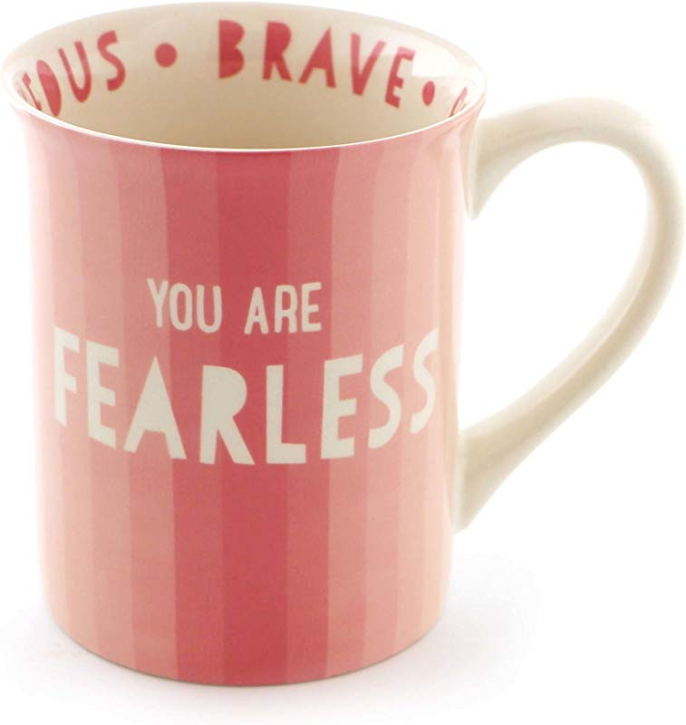 Enesco 6000076 Our Our Name Is Mud Fearless Stoneware Coffee Mug 16 Oz Pink