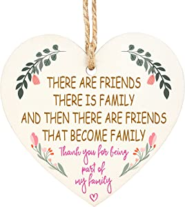 Wooden Hanging Heart Plaque,, Friendship Plaques Crafts, Friends That are Family Sign Plaques, Wooden Hanging Sign for Wall Door Decor