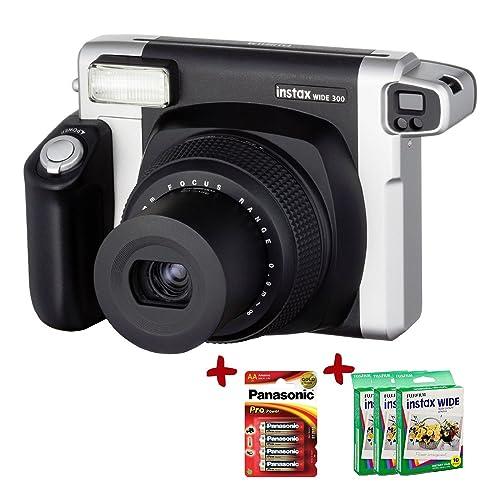 Allcam Bundle Fuji Instax 300 Wide Instant Camera +30-Shot Wide Film + Panasonic Gold Batteries