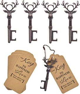 DerBlue 40 PCS Christmas Reindeer Key Bottle Openers,Vintage Key Bottle Opener, Wedding Favors Key Bottle Opener Rustic Decoration with Escort Tag Card(Red Copper)
